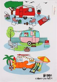Retro caravan tea towel by Hot House