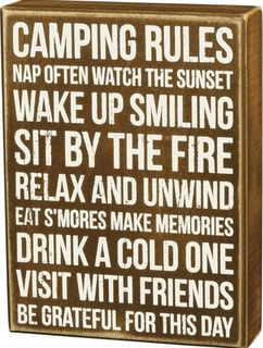 Wall art, sign CAMPING RULES