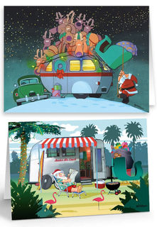 Santa Caravan Christmas Card with Envelope