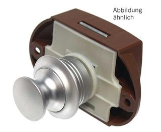 Bathroom Push Lock, Silver Button/White Back