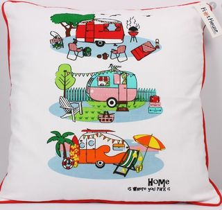 RETRO CARAVAN CUSHION COVER, 'HOME IS WHERE YOU PARK IT