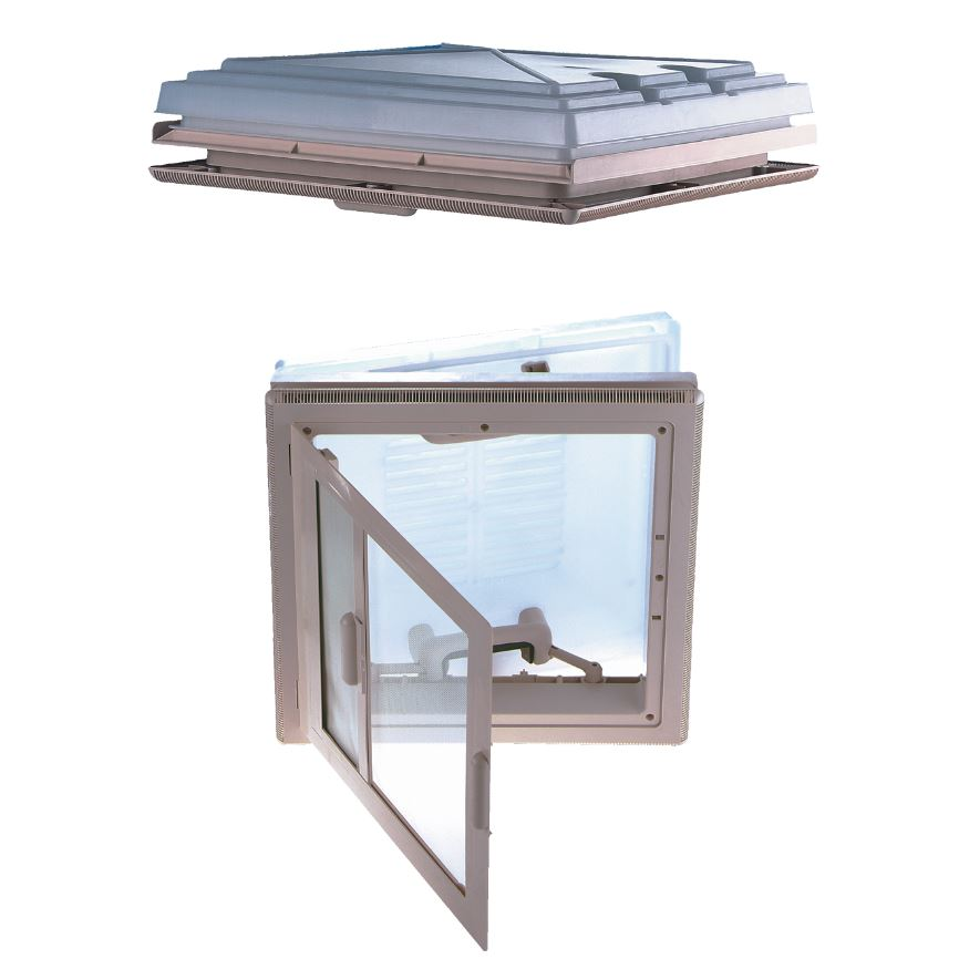 MPK 42K roof light, complete, with blinds and flyscreen, 400 x 400 mm, roof: 24-56 mm