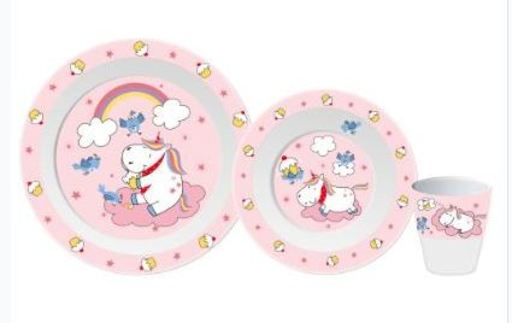 Unicorn melamine tableware set, pink