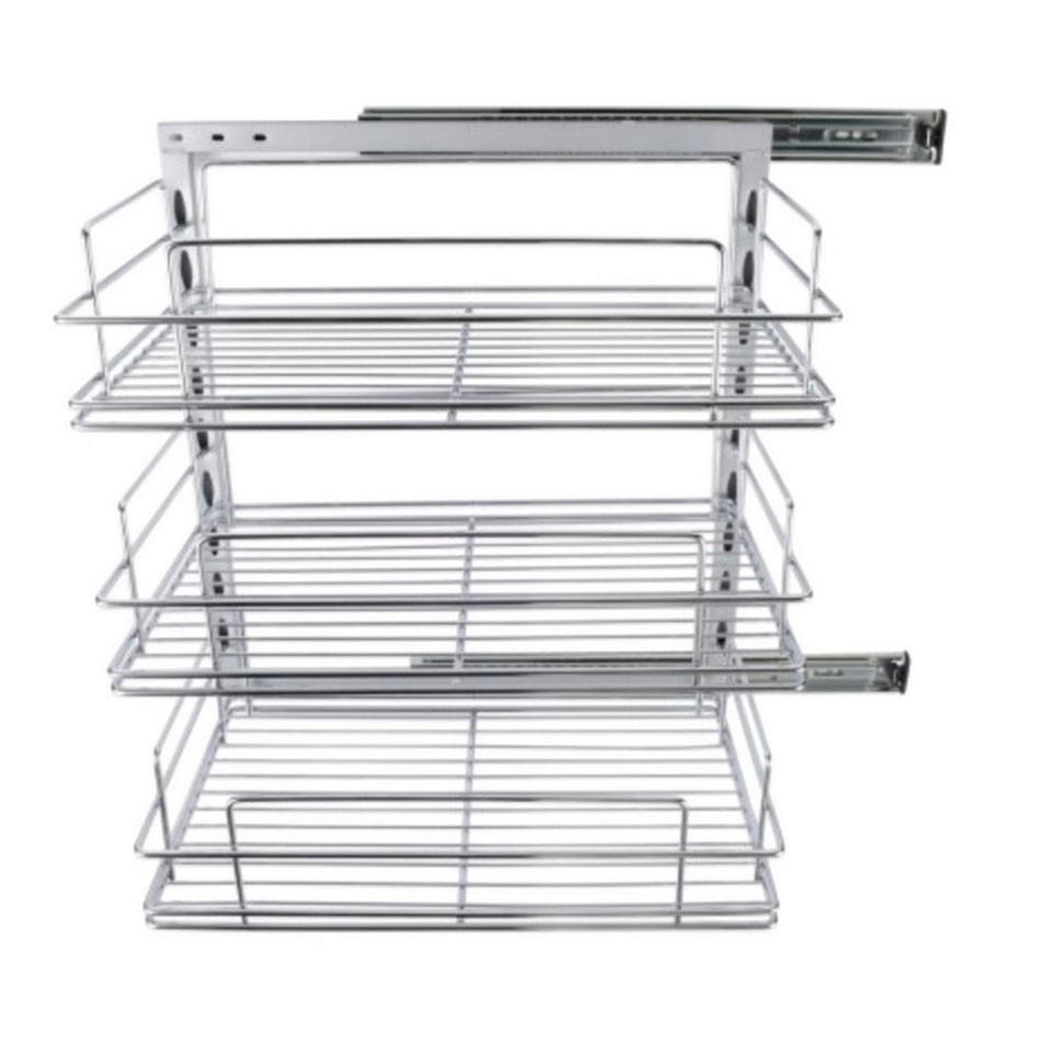 Camec Roll out pantry with 3 large wire baskets