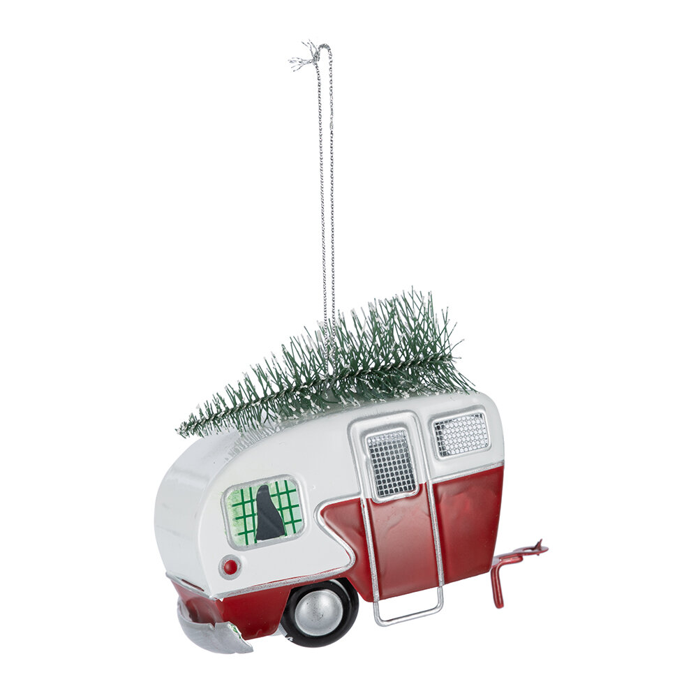 Metal Caravan Christmas Ornament- Available in Red or Green