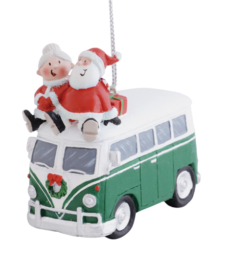 Santa and Mrs. Claus Riding on Top of VW Bus Christmas Ornament