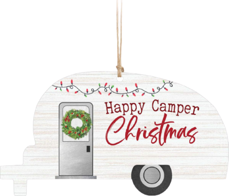 Happy Camper Wood Christmas Ornament