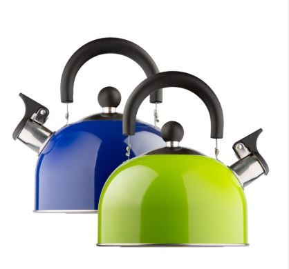 WHISTLE KETTLE, 2 litres, stainless steel, blue or green